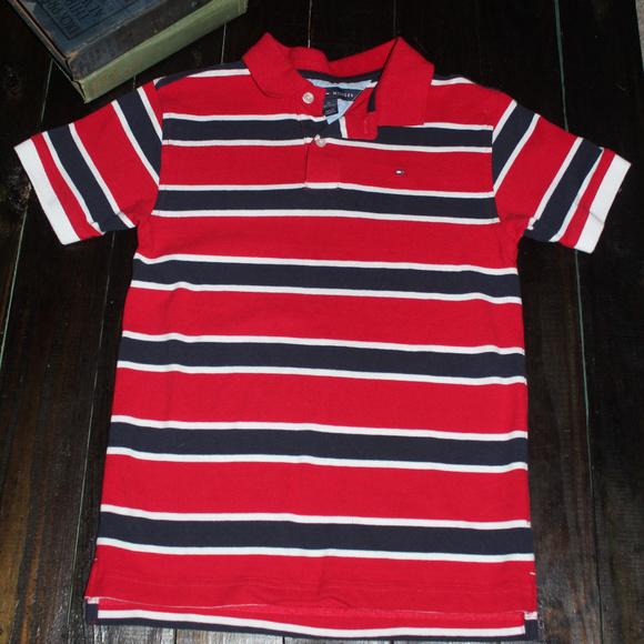 b45ba30a98dc5 Tommy Hilfiger Boys Red White Navy Polo M 12 14. M 5a874d9900450f3f4b597e4e